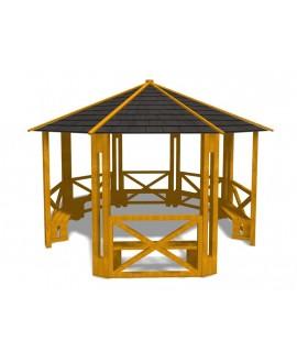Gazebo ottagonale Ø 5 metri senza pavimento con plinti h600