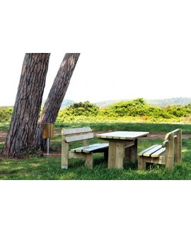 Margherita benches and table Natural wood