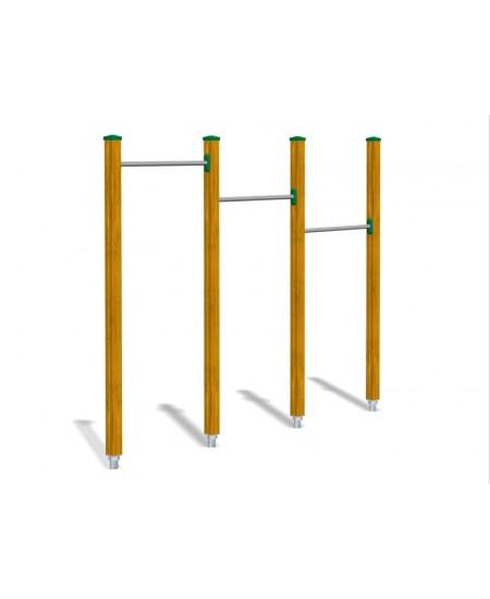 Sbarre orizzontali per esercizi in sospensione  con pioli in frassino con plinti