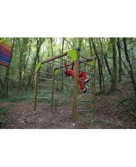 Ponte con pioli per esercizi di arrampicata con pioli in frassino con plinti h85